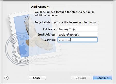 add usc email mac mail