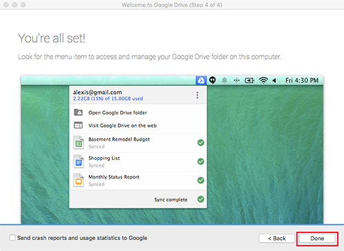 Google Drive Mac Done