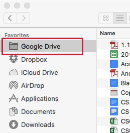 how to put google drive on finder