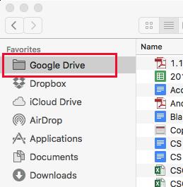 Google Drive Mac Finder