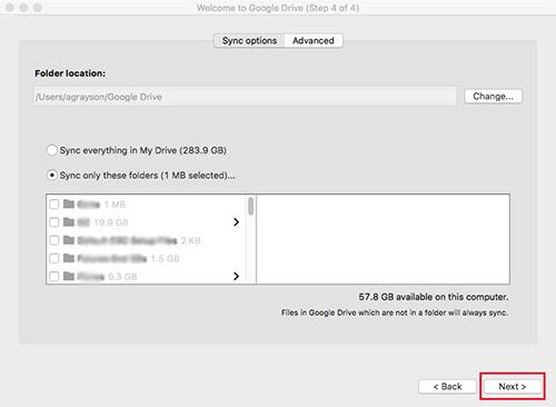 Google Drive Mac Selective Sync