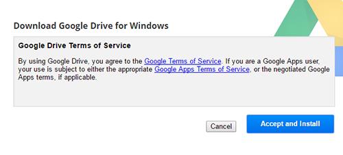 Google Drive Windows Accept