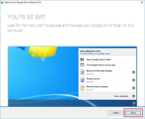 Google Drive Windows Done