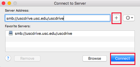 USCDrive Mac Connect to server