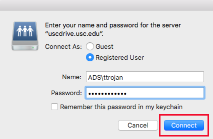 USCDrive Mac Credentials